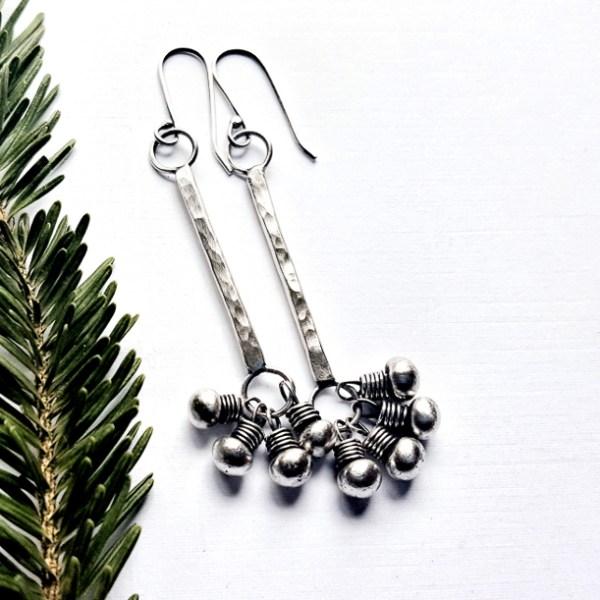 Sterling Silver Fringed Long Bar Clasp Earrings by - Andewyn Moon