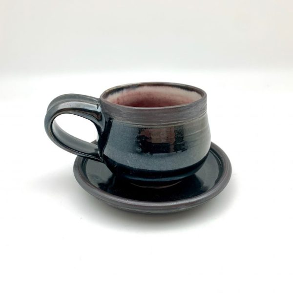 black red Porcelain Espresso Cup and Saucer by Margo Brown