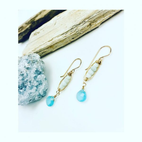 goldfill chalcedony and pearl earring by laura j designs