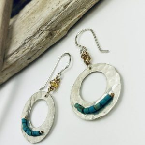 sterling silver earrings with turquoise and brown garnet by laura j designs