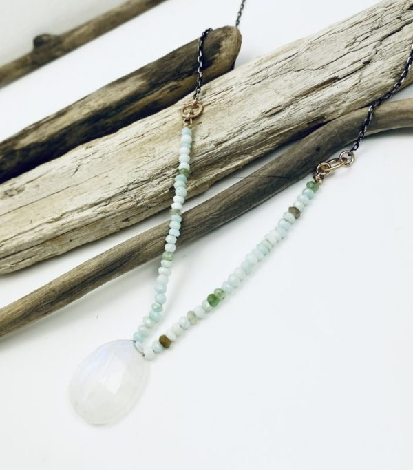 Sterling Silver Necklace with Peruvian Opal and Moonstone Laura J Designs