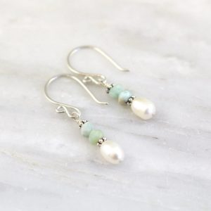 Little Stacked Larimar and Pearl Earrings Sarah Deangelo