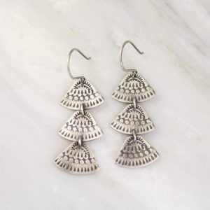 Asmi Trio Triangle Silver Earrings Sarah Deangelo