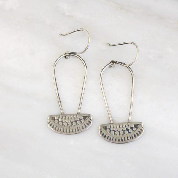 Asmi Oxidized Silver Long Hooped Earrings by Sarah DeAngelo