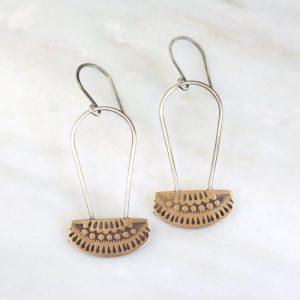 Asmi Bronze and Silver Long Loop Earrings Sarah Deangelo
