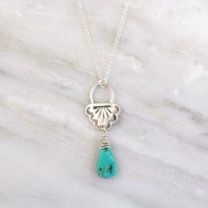 South West Lace Turquoise Drop Necklace Sarah Deangelo