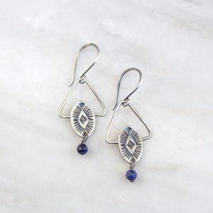 Southwest Triangle Lapis Earrings by Sarah DeAngelo