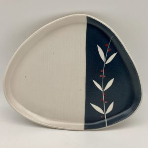 stenciled handmade snack plate with berries pattern by Rita Vali