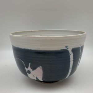 Navy Bowl with White Design by Margo Brown