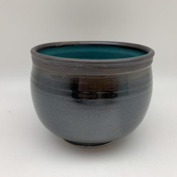 Black Bowl with Turquoise Inner by Margo Brown