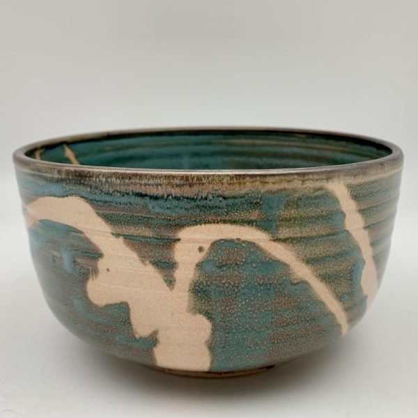 Turquoise Porcelain Bowl with Tan Design by Margo Brown - 1671-77