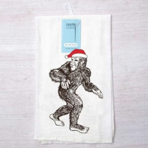 Santa Sasquatch Flour Sack Towel by Counter Couture