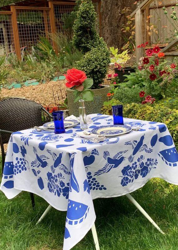 True Blue Teapot Tablecloth by Mim & Poppy