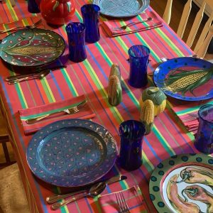 Watermelon Stripe Tablecloth by Mim & Poppy