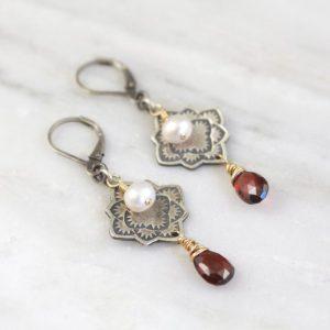 Desert Rose Mandala Pearl & Garnet Earrings by Sarah Deangelo