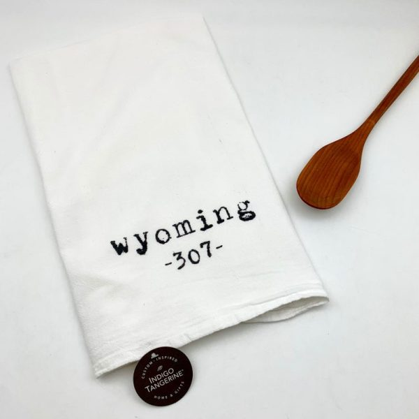 Wyoming Area Code Cotton Tea Towel Indigo Tangerine