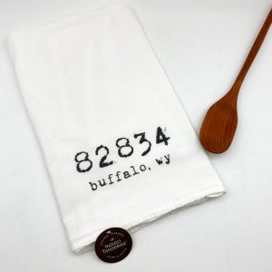 Wyoming Zip Code Cotton Tea Towel Indigo Tangerine