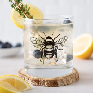 Bumble Bee Rocks Glass by Counter Couture