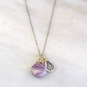 Tribal Leaf Purple Lace Agate Necklace Sarah Deangelo