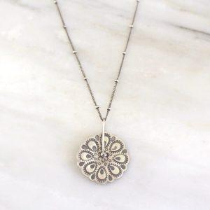 Peacock Mandala Wheel and Chain Necklace Sarah Deangelo