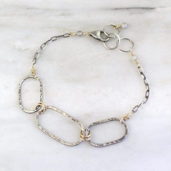 Hammered Mixed Metal Linked Oval Bracelet Sarah Deangelo