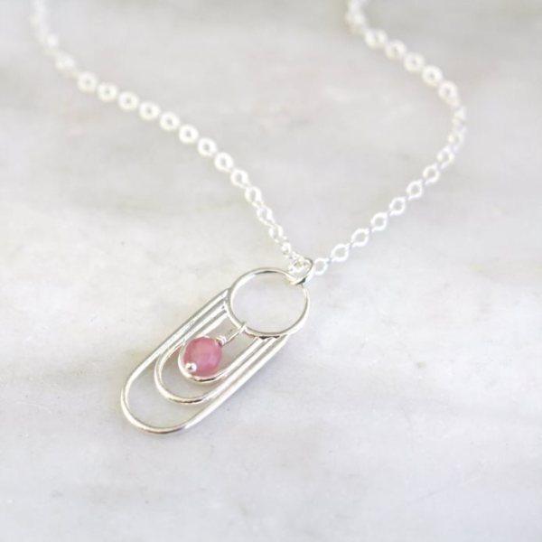 Reflections Pink Tourmaline Dangle Necklace Sarah Deangelo
