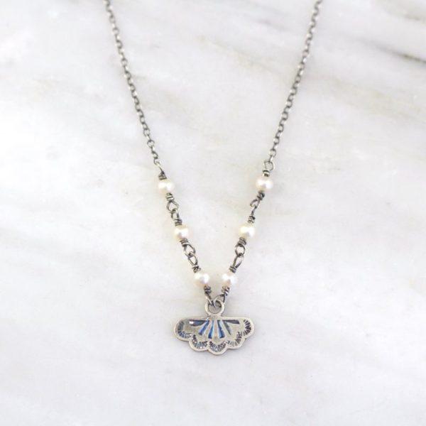 Southwest Lace Charm & Pearl Necklace Sarah Deangelo