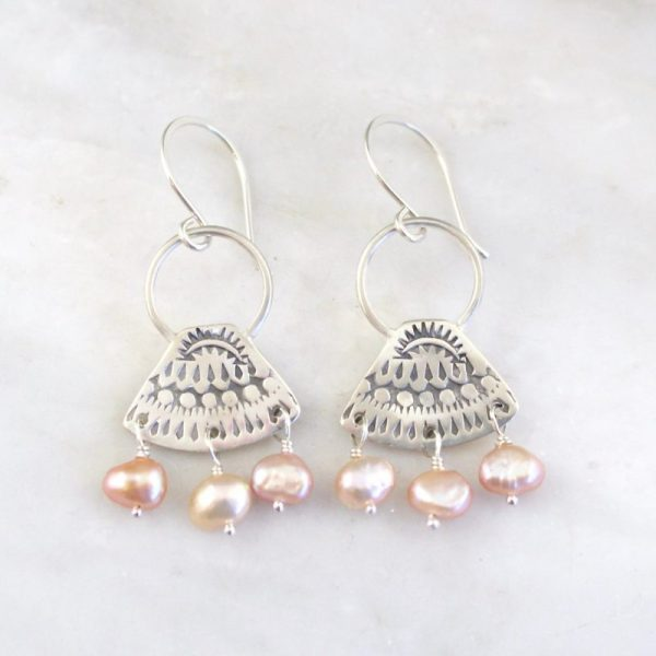 Asmi Triangle Loop & Pearl Earrings Sarah Deangelo