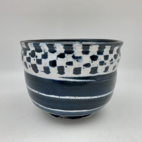 Navy and White Checked Bowl by Margo Brown
