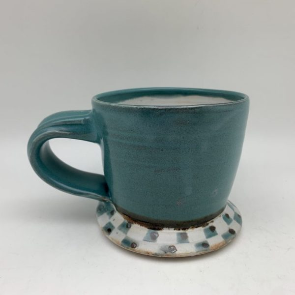 Turquoise Checked Mug by Margo Brown