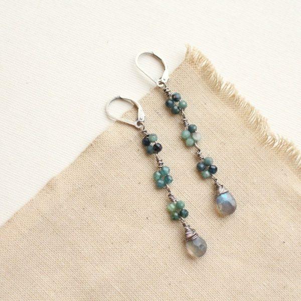 Blue Tourmaline & Labradorite Long Earrings Sarah Deangelo