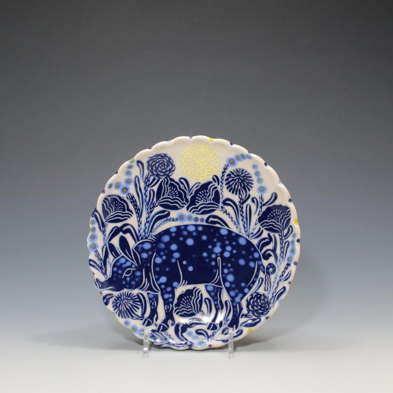 Blue Pig Dessert Plate Sue Tirrell