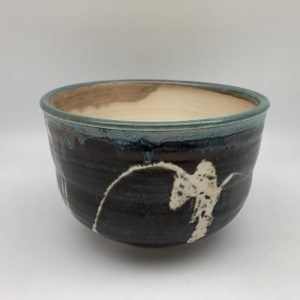 Brown Bowl with White and Turquoise by Margo Brown - 2273
