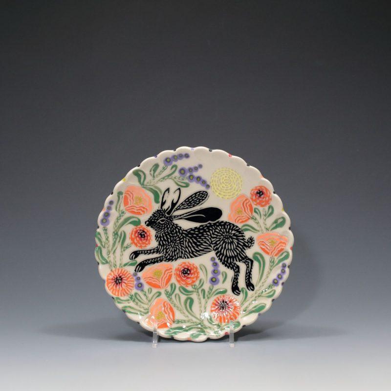 Black Jackalope Dessert Plate Sue Tirrell