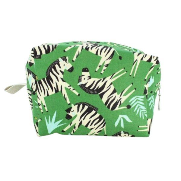 Medium Cosmetic Bag by Dana Herbert - Green Zebra