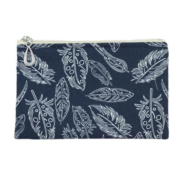 Cotton Coin Purse by Dana Herbert - Feathers on Navy