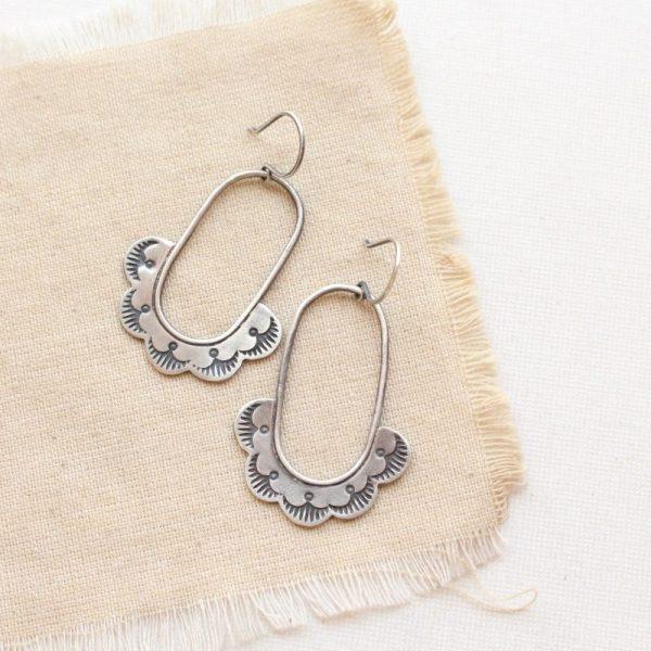 Columbine Stamped Silver Hoop Earrings Sarah Deangelo