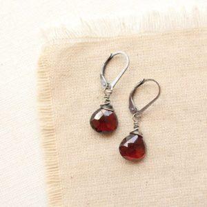 Garnet Drop Silver Earrings