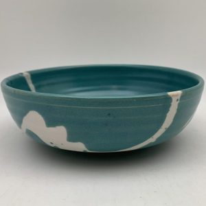 Turquoise Bowl With White Accents by Margo Brown - 2508