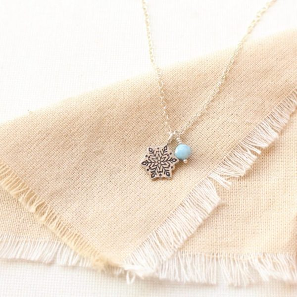 Snowflake & Aquamarine Charm Necklace