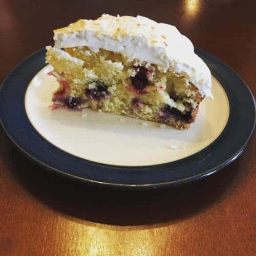 Lemon Blueberry Cake with Meringue Frosting