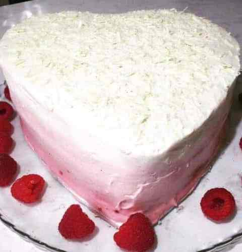 raspberry heart shaped cake