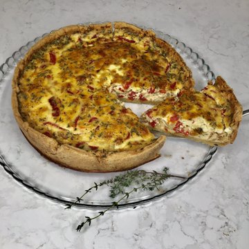 Deep Dish Roasted Red Pepper Caramelized Onion and Gruyere Quiche