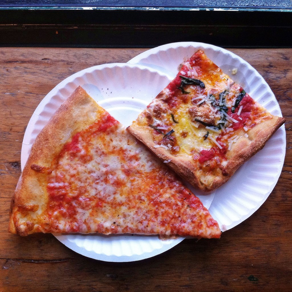 Slices of pizza from Williamsburg Pizza