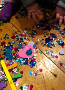 For sale: One cottage covered in sequins and googly eyes.  Toddler thrown in with purhcase.