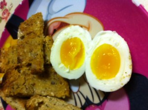 Our very first boiled eggs from our own hens! Perfect!