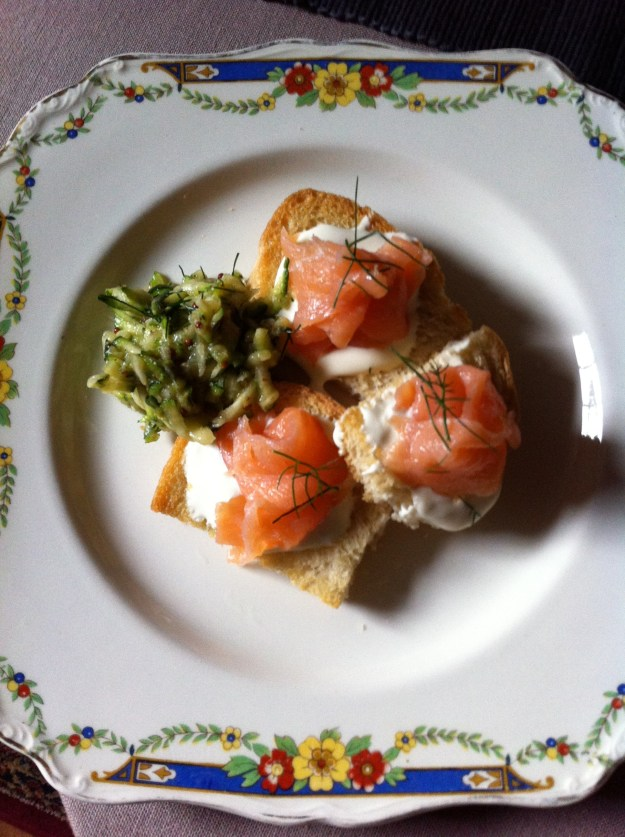 Get Creative: Smoked salmon bruschetta with sweet courgette relish