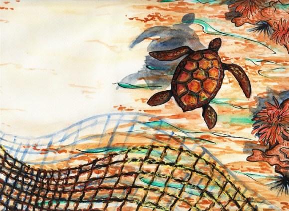 La Tortue - illustration de poème animalier