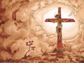 """""""Ils seront mon peuple et moi, je serai leur Dieu"""" Jr 32, 38 - illustration au café et encres noire et rouge"""