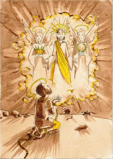 Saint Théodore dans sa prison - café, stylo bille, encre végétale (Bouton d'or)